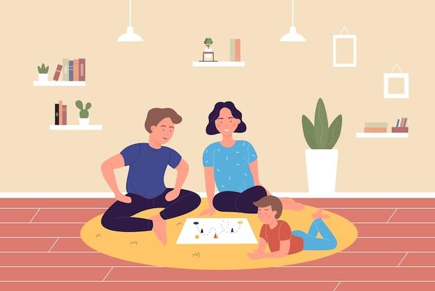 Familia jugando juegos de mesa en casa