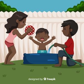 Familia jugando en una piscina dibujada a mano
