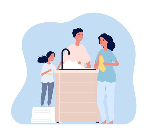 Familia lavándose las manos.