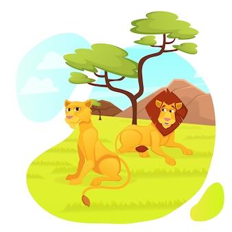 Familia de leones depredadores, animales machos y hembras
