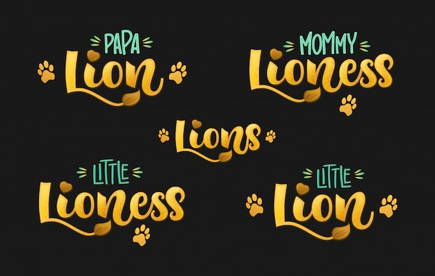 Familia de leones establece color mano dibujar caligrafía script texto de letras