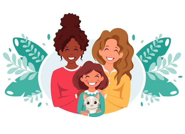 Familia lesbiana con hija y gato como familia lgbt