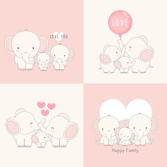 Familia linda del elefante con un pequeño elefante en el centro.