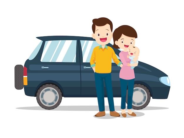 Familia linda feliz con un coche en blanco