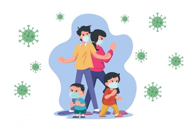 Familia con máscara médica luchando contra el coronavirus