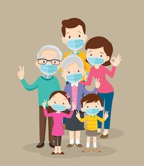 Familia con máscara médica protectora
