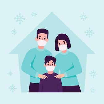 Familia con máscara médica protegida del virus.