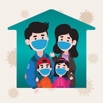 Familia con una máscara quirúrgica para prevenir el virus en el icono de la casa