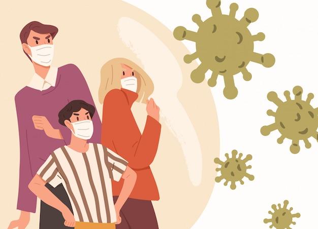 Familia con mascarillas. hombre, mujer y niño luchan con brote de enfermedades respiratorias. medidas preventivas de virus. epidemia de coronavirus, protección pandémica. ilustración en estilo plano de dibujos animados