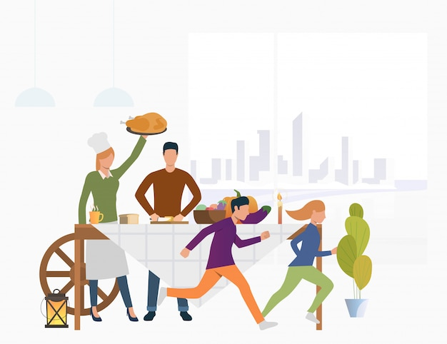 Familia en la mesa con comida festiva