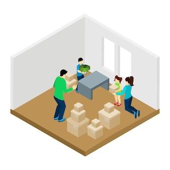 Familia moviéndose en la ilustración