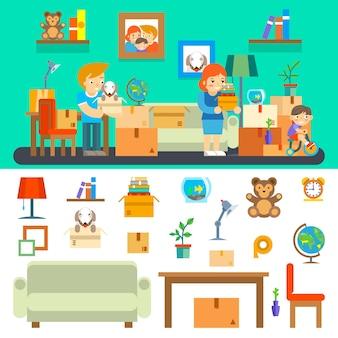 La familia se muda a un apartamento nuevo. cambio de casa. coloque la propiedad residencial con sofá, lámpara, escritorio, globo y acuario