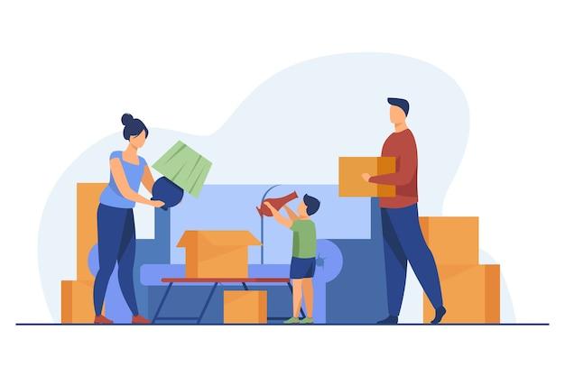 Familia mudarse y empacar cosas. padres, niño, cajas de cartón ilustración vectorial plana. casa nueva, compra de propiedad, concepto de hipoteca