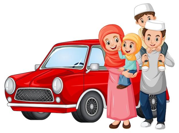 Familia musulmana al lado del coche.