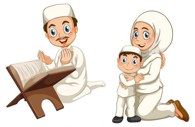 Familia musulmana árabe en vestimentas tradicionales aislado sobre fondo blanco.