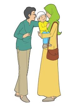 Familia musulmana asiática