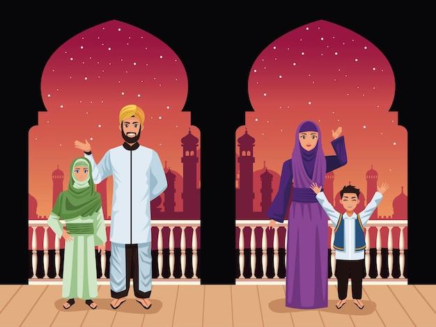 Familia musulmana, en, balcón
