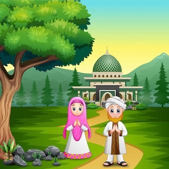 Familia musulmana bendiciendo a ramadan kareem