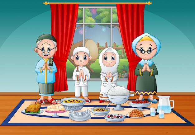 Familia musulmana celebrando eid en fiesta de iftar