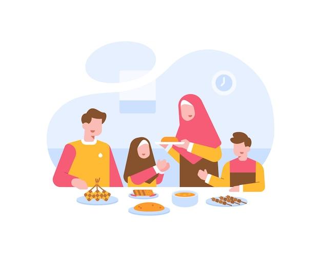 Familia musulmana comer juntos en la ilustración de la mesa de comedor