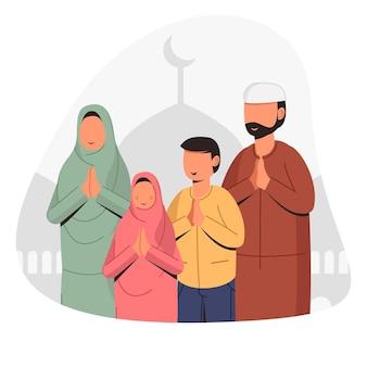 La familia musulmana está dando saludos ilustración de diseño conceptual