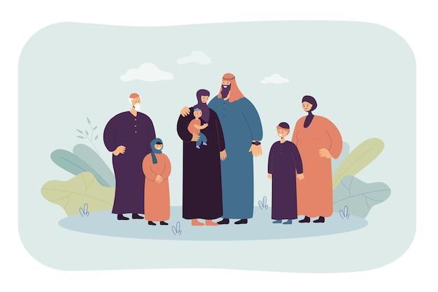 Familia musulmana de dibujos animados feliz. ilustración plana