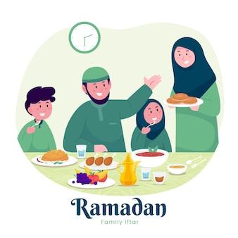 Familia musulmana disfrutando de ramadán iftar juntos en felicidad durante el ayuno