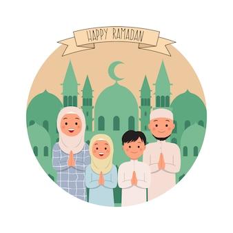Familia musulmana feliz saludo de ramadán. vector de estilo plano