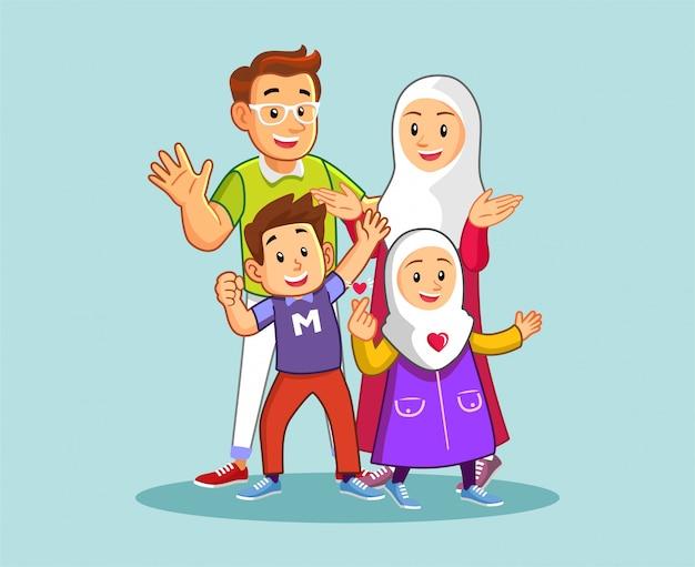 Familia musulmana feliz