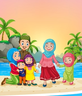 Familia musulmana en la playa