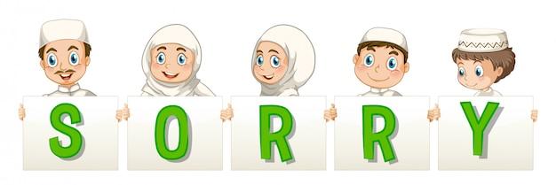 Familia musulmana sosteniendo la palabra para lo siento