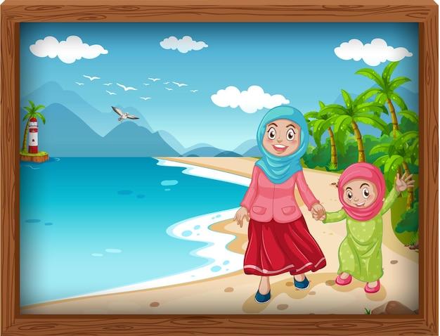 Familia musulmana tomando vacaciones