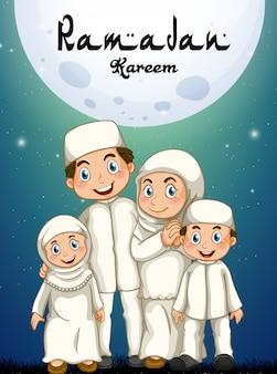 Familia musulmana en traje blanco
