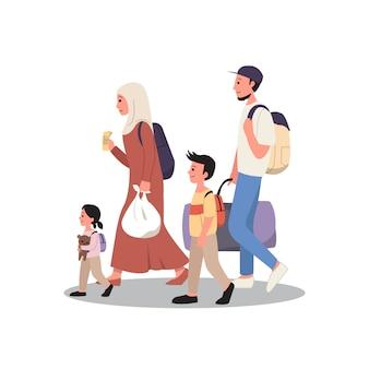 Familia musulmana viajando de vacaciones. tradición de regreso a casa para eid al fitr. estilo plano aislado sobre fondo blanco.