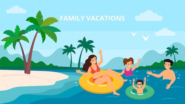 Familia natación vacaciones mar junto al mar vacaciones de verano padres con dos niños ilustración vectorial.