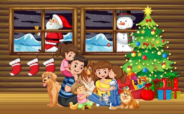 Familia navideña en salón con arbol.