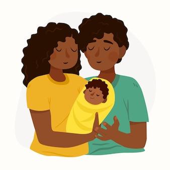 Familia negra dibujada a mano con un bebe