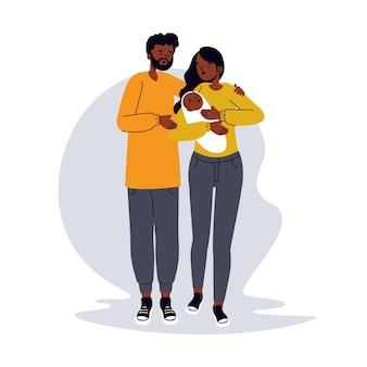 Familia negra dibujada a mano plana con un bebé