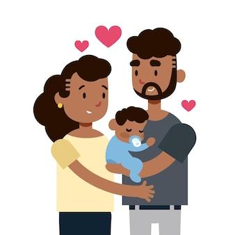 Familia negra con diseño plano de bebé.