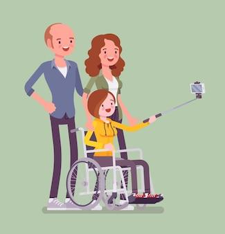 Familia con un niño discapacitado