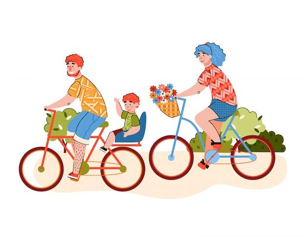 Familia con niño haciendo una ilustración de vector plano de dibujos animados de paseo en bicicleta aislado.