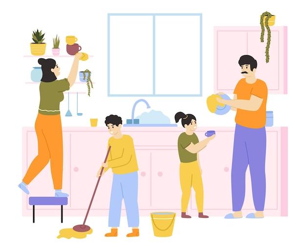 Familia con niños lavando y limpiando
