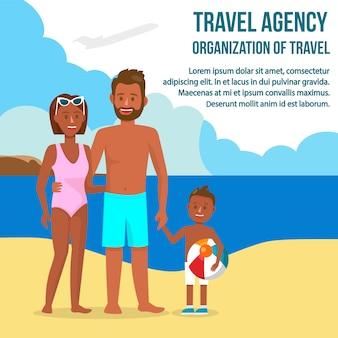 Familia oscura de la piel en la postal del viaje del vector del centro turístico