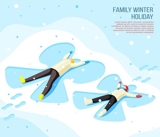 Familia padre e hijo haciendo dibujo de mariposa en la nieve durante las vacaciones de invierno isométrica
