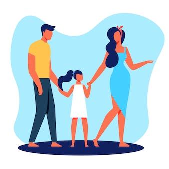 Familia padre madre e hija con los pies descalzos.