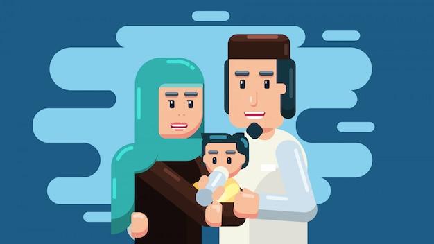 Familia, padres y bebe
