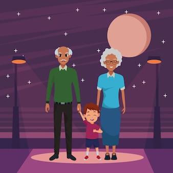 Familia padres y dibujos animados infantiles.