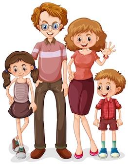 Familia con padres y dos hijos sobre fondo blanco.