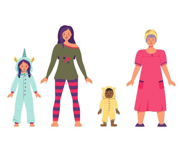 Familia con uno de los padres lista para una divertida fiesta de pijamas