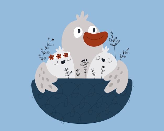 Familia de pájaros de dibujos animados lindo en nido